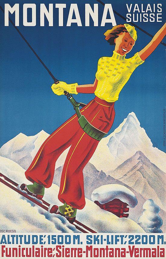 Montana-Vermala Switzerland Vintage Skiing c.1930s POSTER Reprint Ski Valais