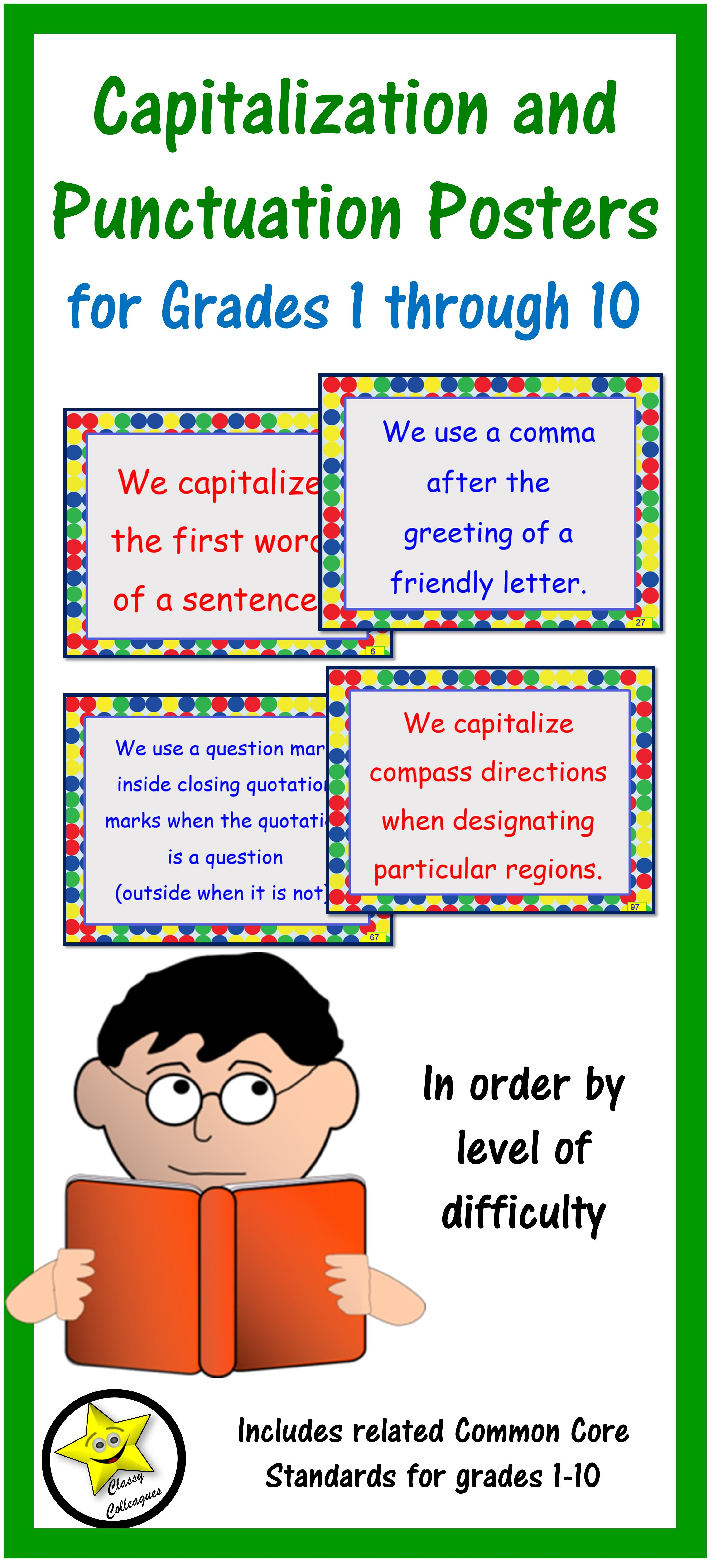 Capitalization and punctuation rule posters for all levels the posters are in order by level of difficulty and address capitalization and punctuation needs at all levels of learning skills build on each other to m4hsunfo