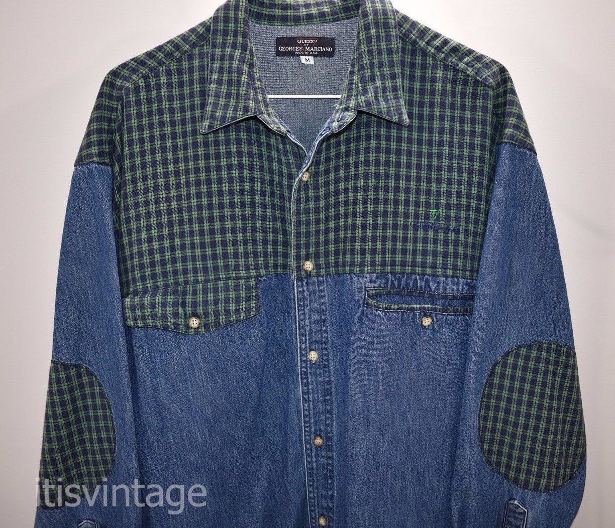 Flannel shirt vintage  Vintage us Guess Marciano Made USA Denim u Flannel Button Front