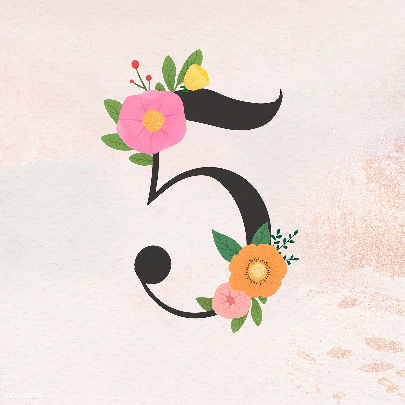 Download Premium Vector Of Watercolor Floral Number 5 Vector