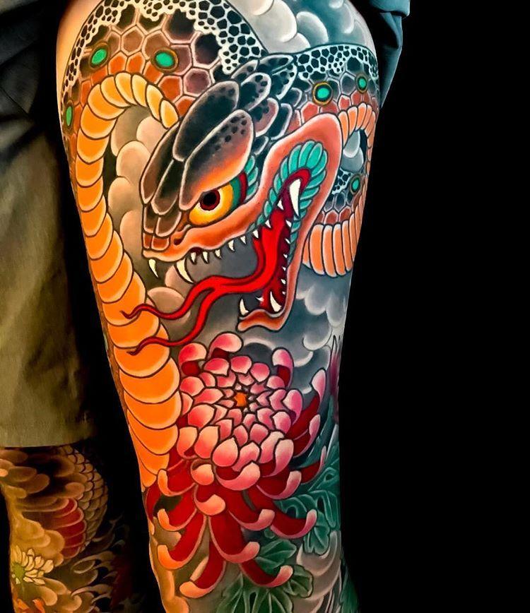 Pin By Chris Jones On Tattoo Japanese Snake Tattoo Sleeve Tattoos Japanese Leg Tattoo
