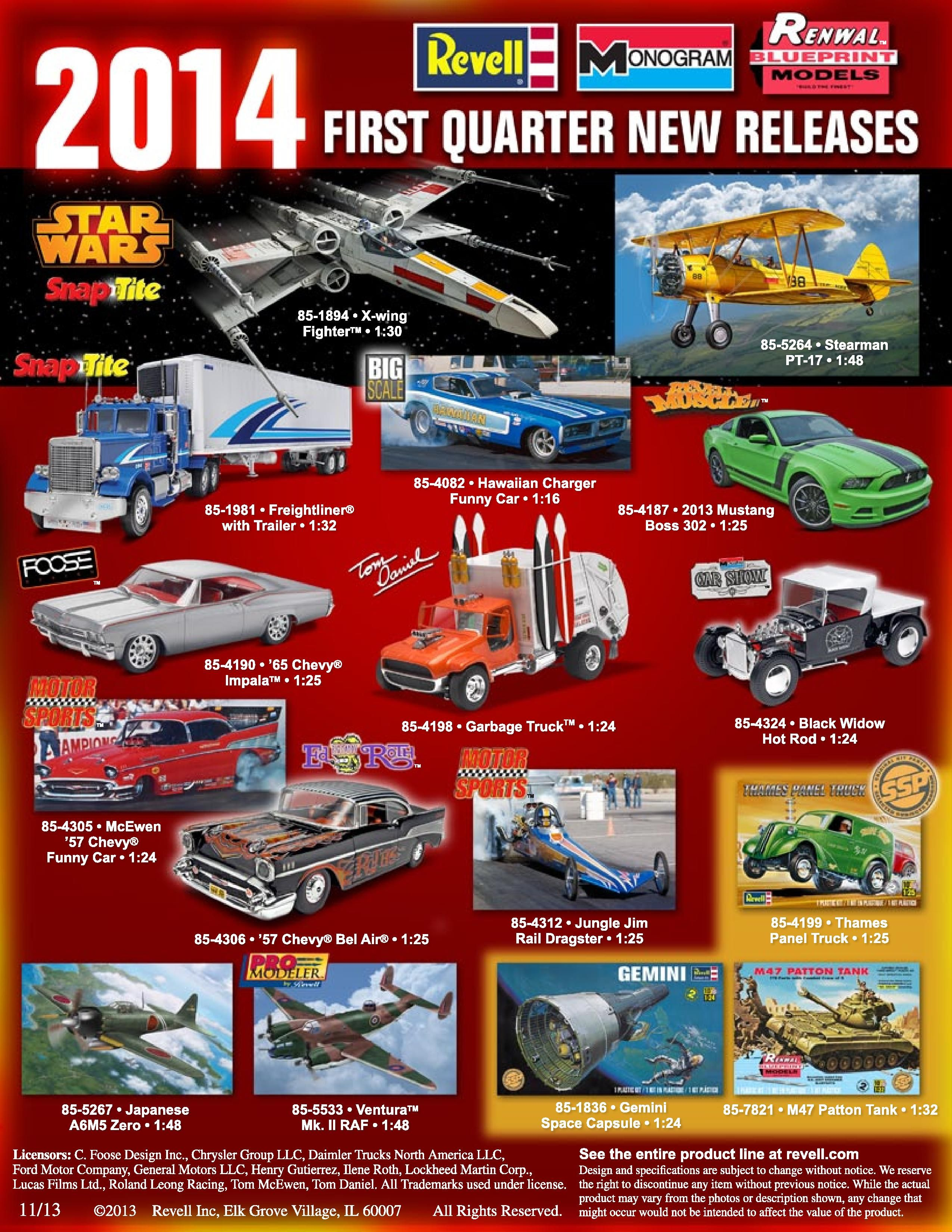 new car releases 20142014 First Quarter New Releases httpwwwrevellcomnewhtml