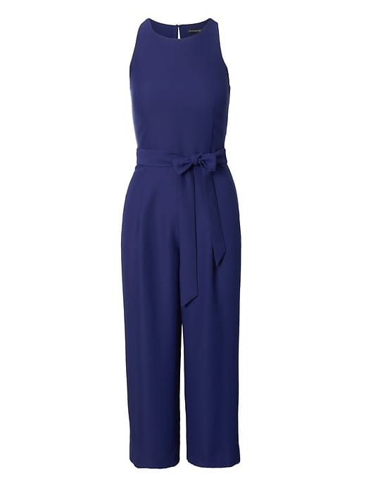 daa6e932491 Banana Republic Womens Cropped Wide-Leg Jumpsuit Deep Sea Blue ...