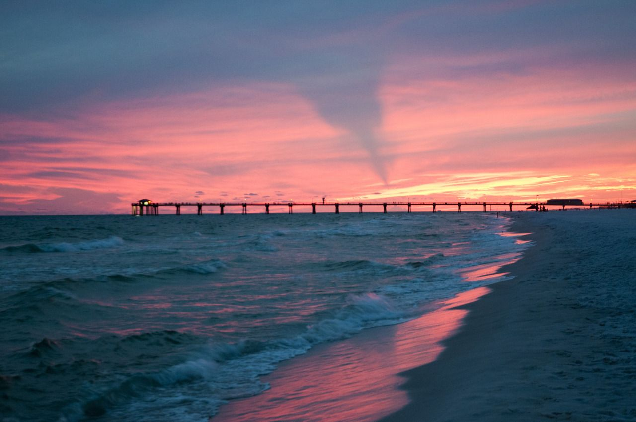 Another Sunset Setting Over The Okaloosa Island Pier And Gulf Of Mexico From Beasley Park In Fort Walton Beach Florida