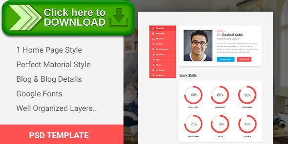Free nulled Intro - Material CV Portfolio Resume PSD Template - online resume download