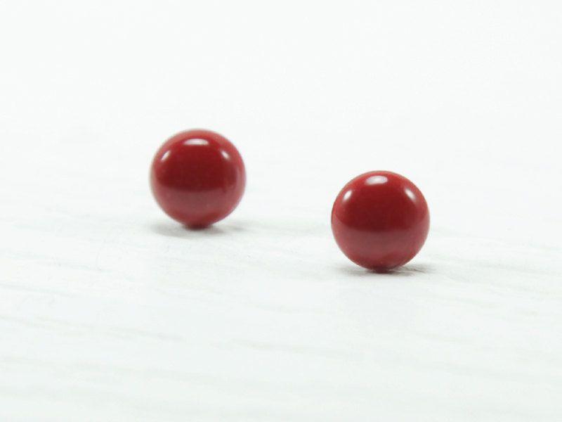 Red Stud Earrings 8mm  Red Earrings  Small Earrings by biesge, $13.90
