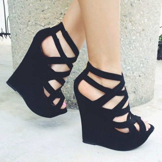 SHOO shoes.Elegant new free shipping, suede, 15.5 cm high-heeled sandals, wedge ... 2