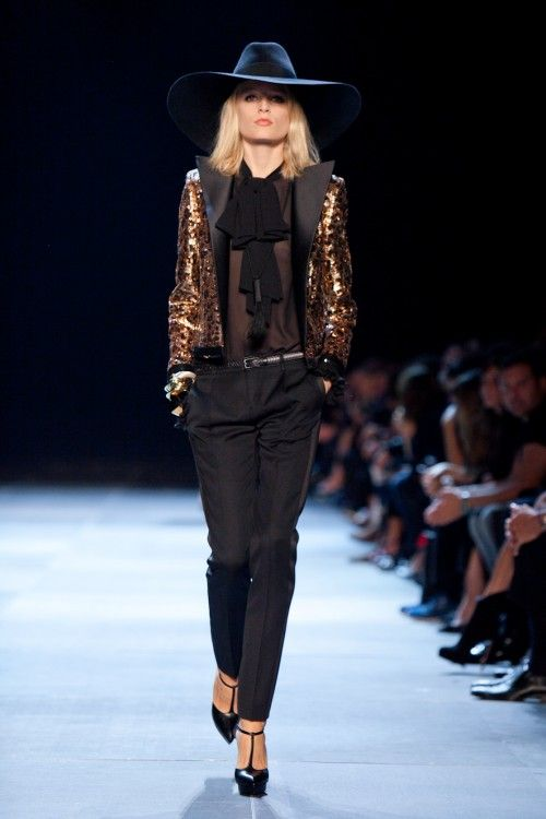 A look from the Saint Laurent show   SS 2013 Source: Nowfashion.com