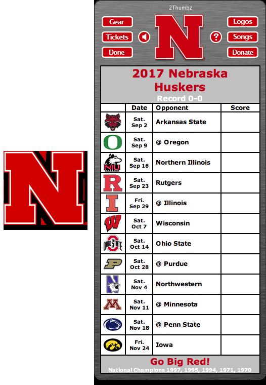 Get your 2017 Nebraska Huskers Football Schedule App for