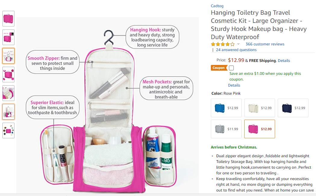 f3b7f96e57 Hanging Toiletry Bag Travel Cosmetic Kit - Large Organizer - Sturdy Hook  Makeup bag - Heavy Duty Waterproof