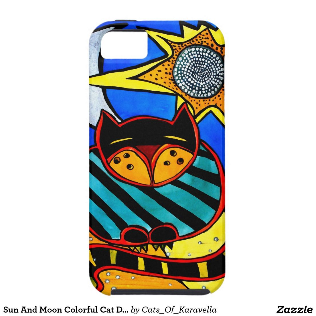 Sun And Moon Colorful Cat Design iPhone SE/5/5s Case. Cat Art by Dora Hathazi Mendes, Cat gifts by Cats Of Karavella. For #catlovers by #dorahathazi