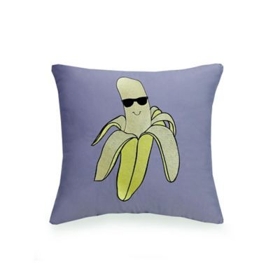 Urban Playground Cool Banana Square Throw Pillow In Grey