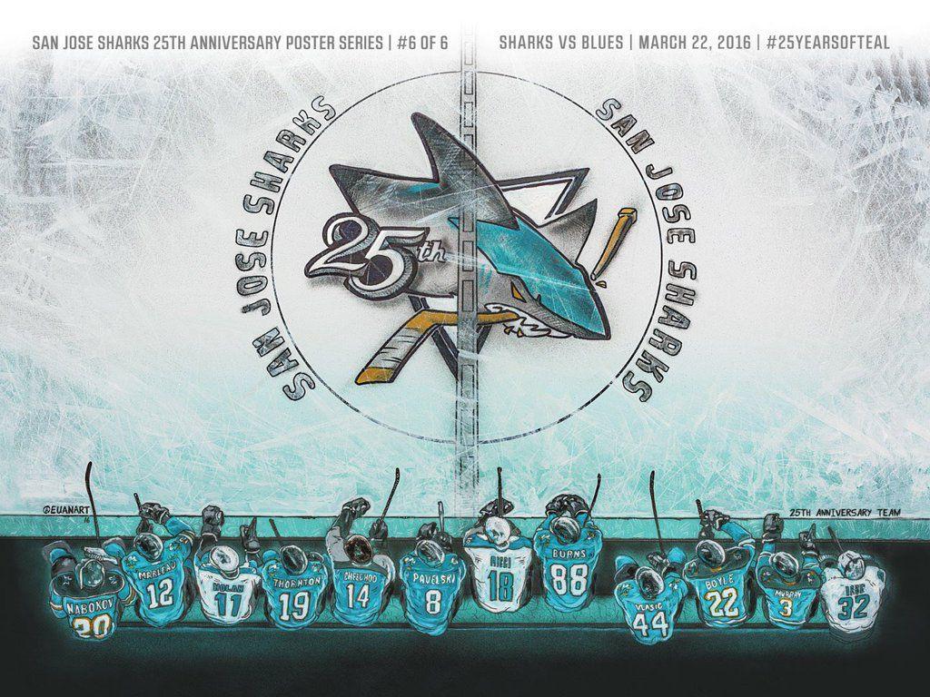 huge discount 00417 8cfa0 25th Anniversary Poster | San Jose Sharks | San jose sharks ...
