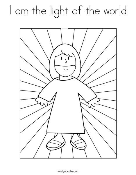I Am The Light Of The World Coloring Page Jesus Coloring Pages Bible Coloring Bible Coloring Pages
