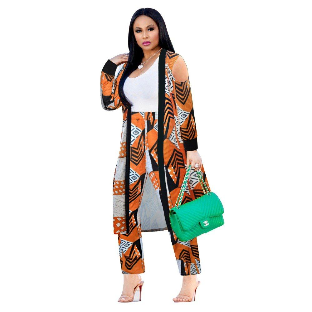 db3e26ccf0f 2 Piece Set Women 2018 Plus Size Cardigan Long Trench Top And Bodycon Pants  Suit Casual