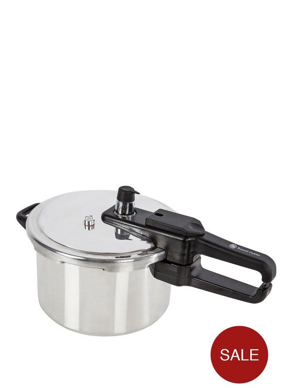 £18 - 4-litre capacity. Aluminium body and lid. Phenolic handles. Quick click locking system. Visual pressure indicator raises to indicate when cooker is ready. Suitable for hob types - electric/gas and solid hotplates.Includes steamer basket. Wash with mild detergent in hot water, rinse and dry thoroughly after use.10 year guarantee. Colour: Silver. RUSSELL HOBBS helpline: 0845 2088750.