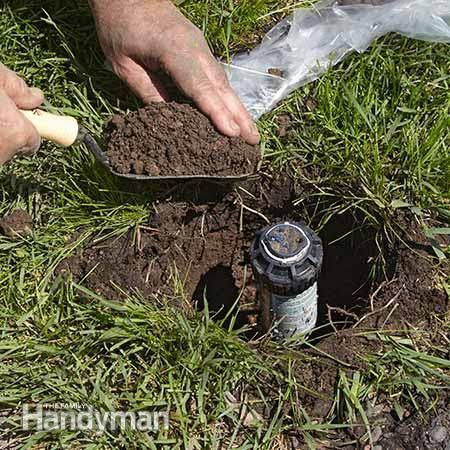 Scoop out the dirt - Replacing Broken Lawn Sprinkler Heads It's pretty easy to damage a sprinkler head with your mower if the head sits too high. Read more: http://www.familyhandyman.com/landscaping/replacing-broken-lawn-sprinkler-heads/view-all