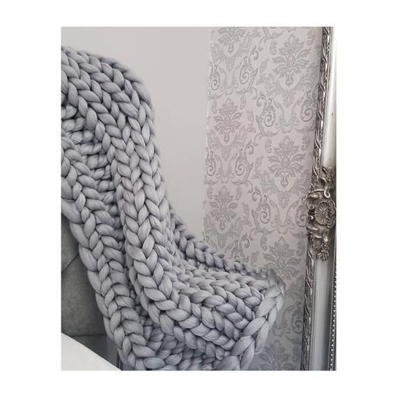 Photo of Chunky Knit Blanket, Ribbed Pattern Chunky Knit Throw, Giant Knit Throw, Ribbed …