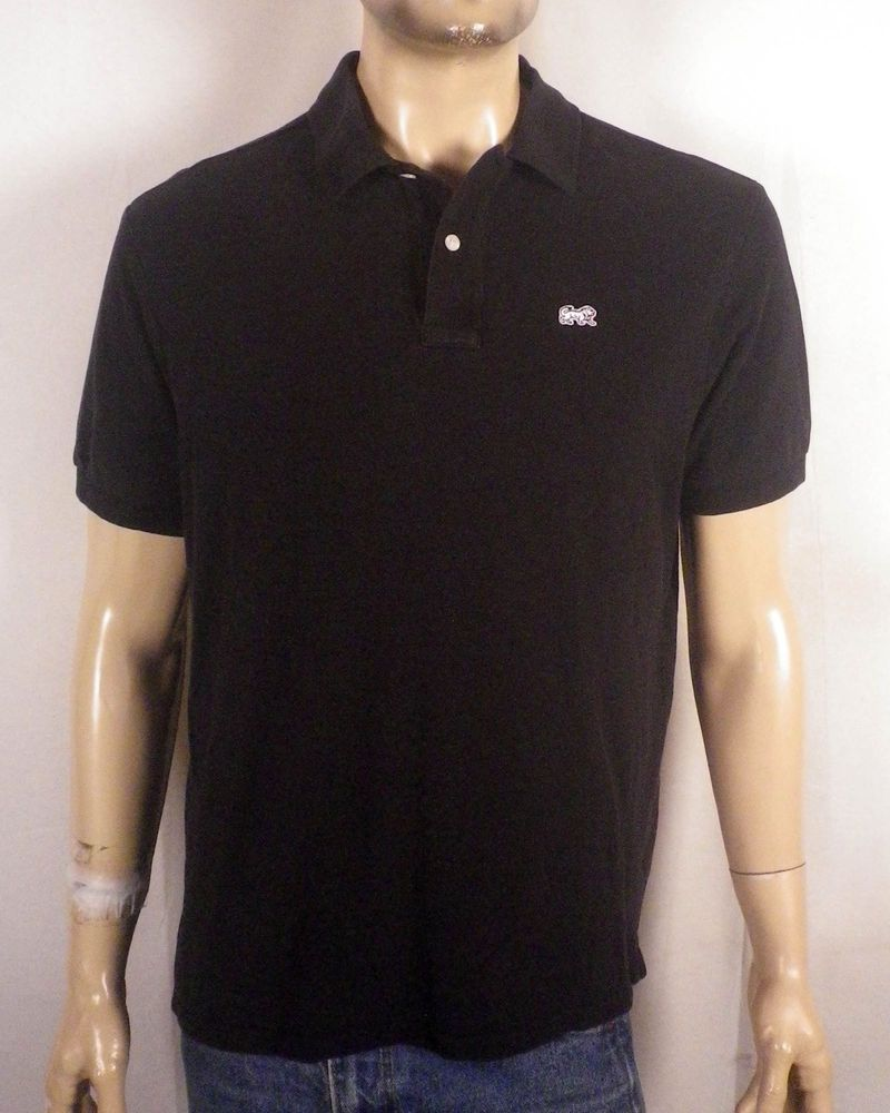 Euc Lion Brand Vtg Solid Black Animal Logo Polo Shirt Mod Indie Sz L