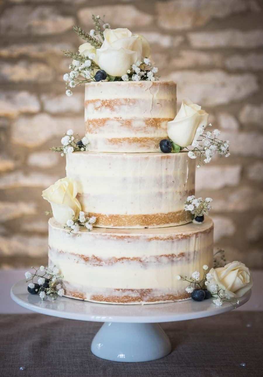 Semi naked and gold leaf wedding cake by Sablée! | CAKES