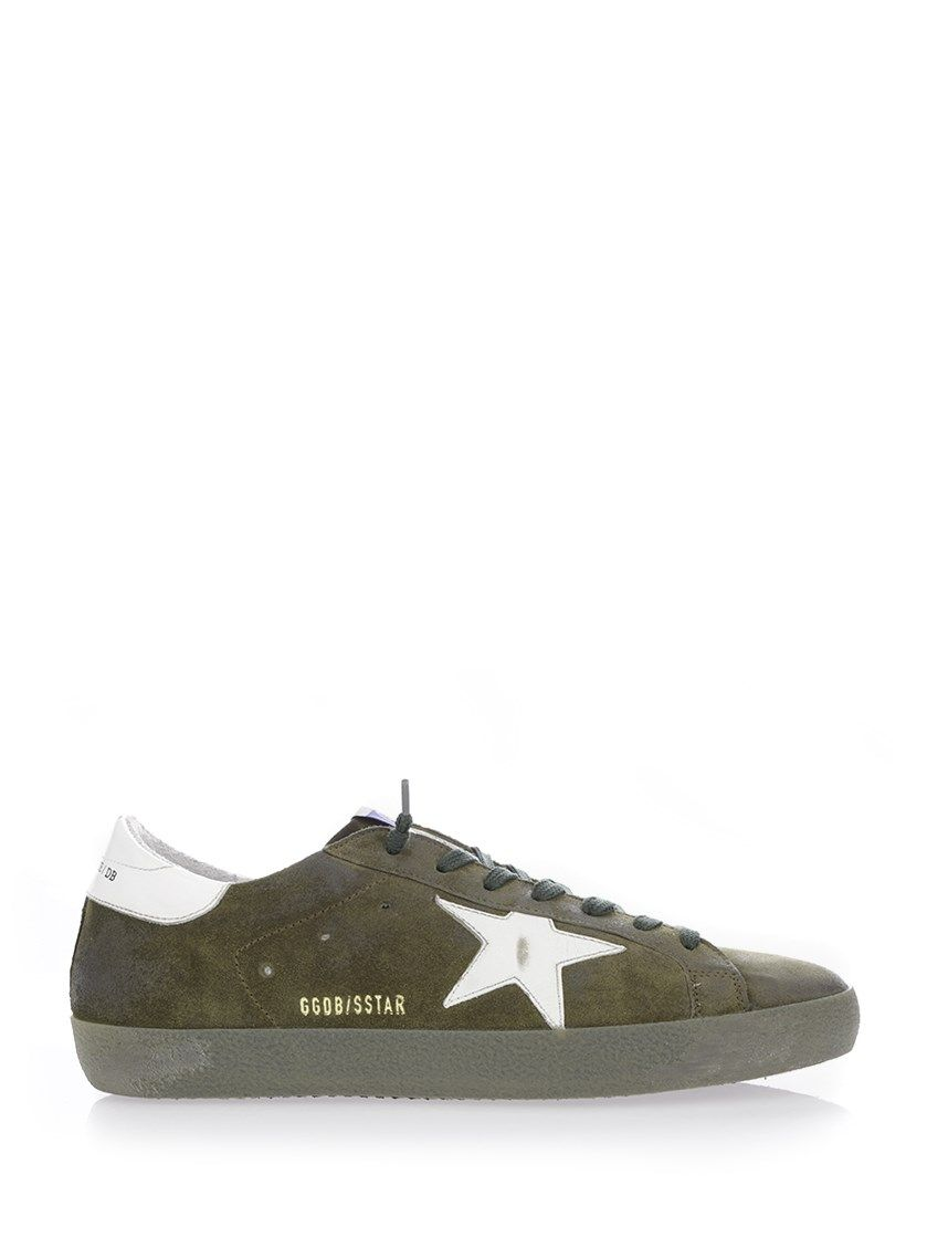 new concept 062a7 afe44 GOLDEN GOOSE Olive Green Distressed Suede Superstar Sneakers.  goldengoose   shoes  sneakers