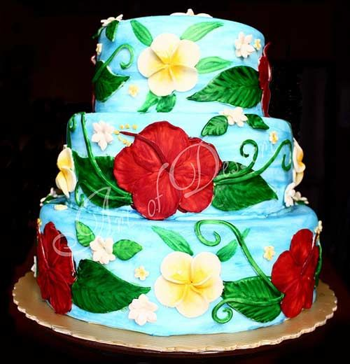 Hawaiian Themed Wedding Ideas: Tropical Three Tier Hand Painted Hawaiian Theme Wedding