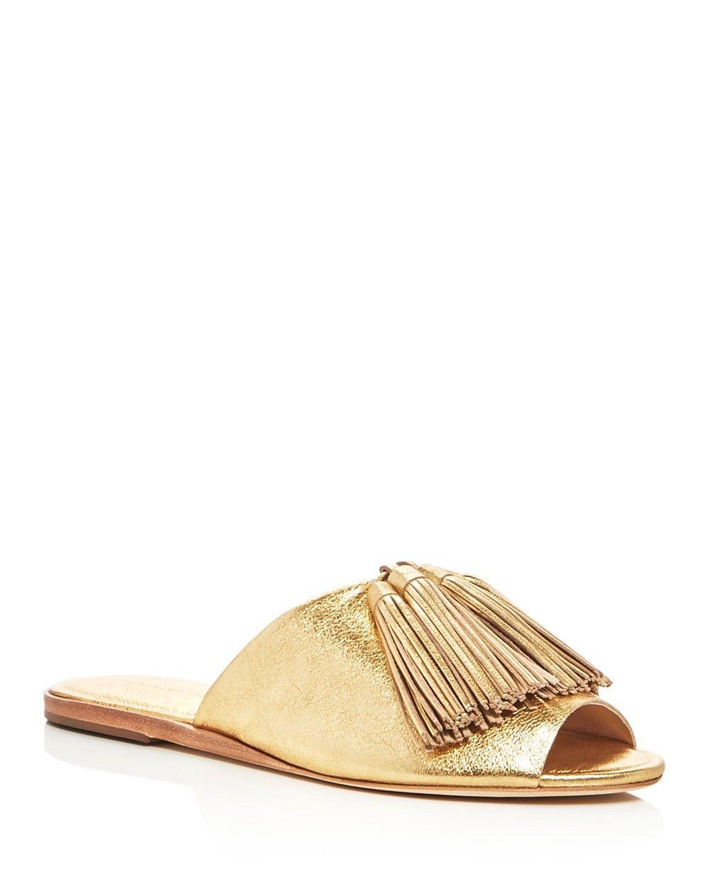 0f925e2805f8a LOEFFLER RANDALL Loeffler Randall Kiki Metallic Tassel Slide Sandals.   loefflerrandall  shoes  all