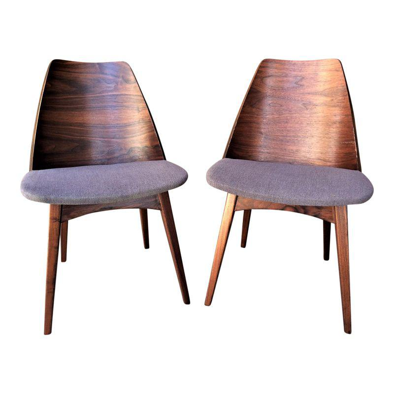 Rare Mid Century Walnut Foster Mcdavid Shell Back Chairs A Pair