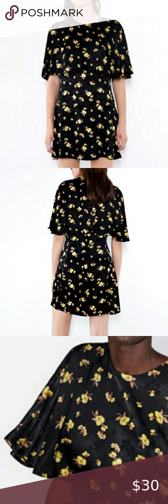 Nwt Zara Black And Gold Yellow Floral Cape Dress Linen Mini Dress Long Sleeve Sequin Dress Cape Dress [ 1740 x 580 Pixel ]