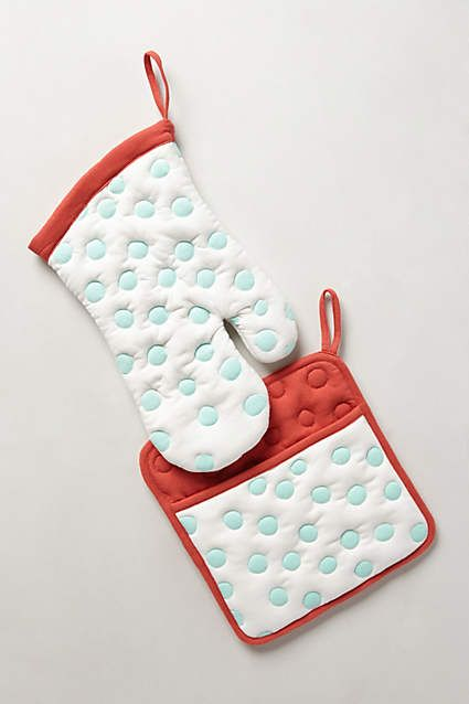 I could use new potholders. These are Anthro and pricy but I've loved them for years. Polka Dotted Potholders - anthropologie.com