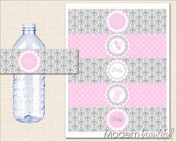 Pink And Grey Baby Shower Water Bottle Labels Pink Grey Damask