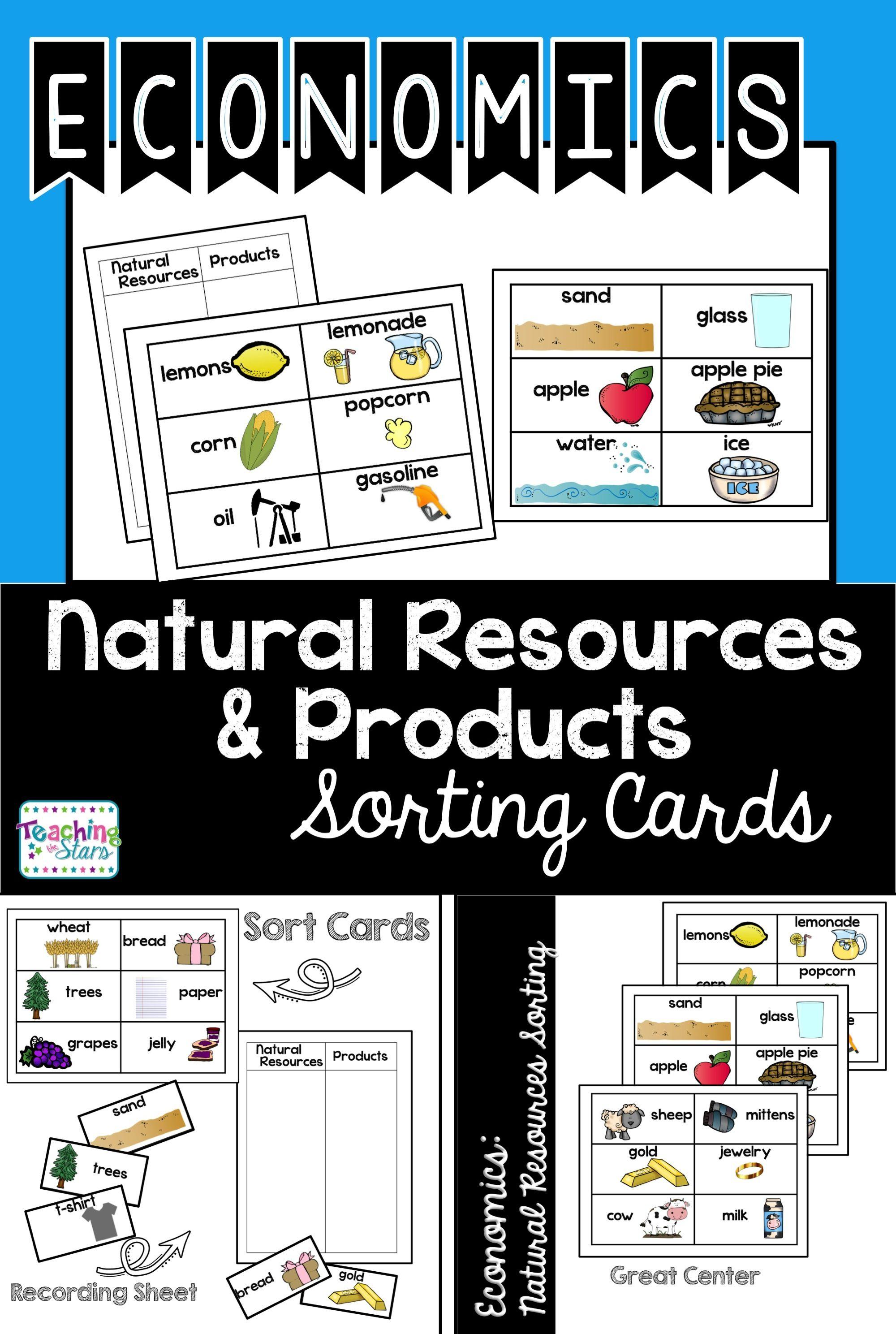 Economics Natural Resources Sorting Cards