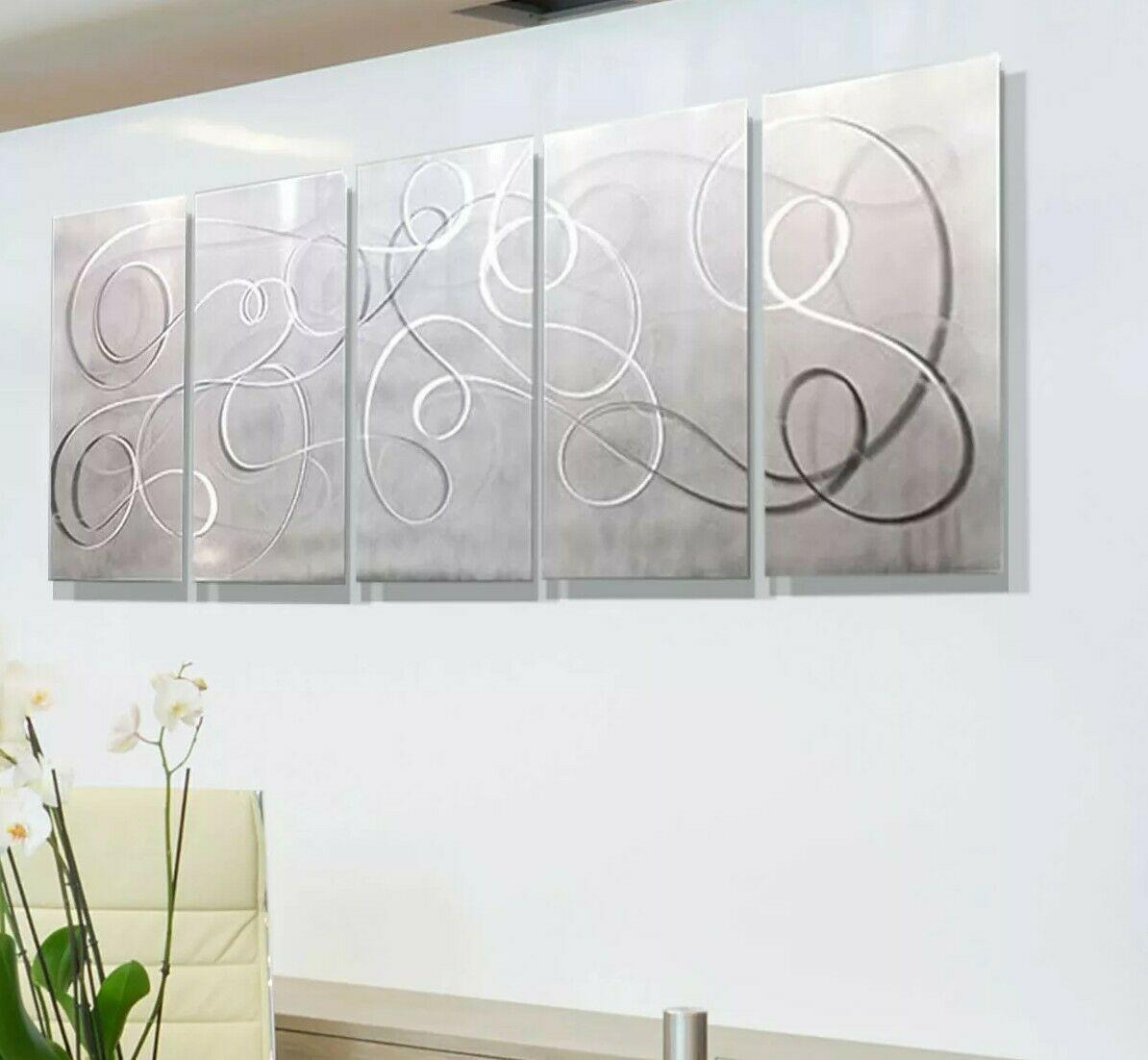 Huge Metal Wall Art Painting Silver White Sculpture Modern 84 X 36 Jon Allen Ideas Of Wall Sculpt In 2020 Metal Wall Art Metal Wall Sculpture Silver Metal Wall Art