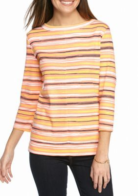 Kim Rogers Peach Combo Boatneck Stripe Top with Seam Detail