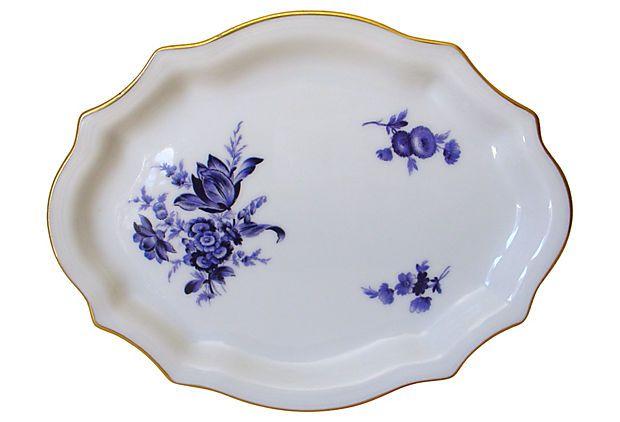 1980's Richard Ginori Blue Rose Dish from Italy