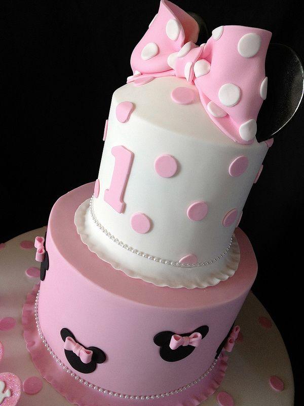 Pink Minnie Mouse First Birthday Cake Minnie Mouse Birthday Cakes Minnie Cake Minnie Mouse 1st Birthday