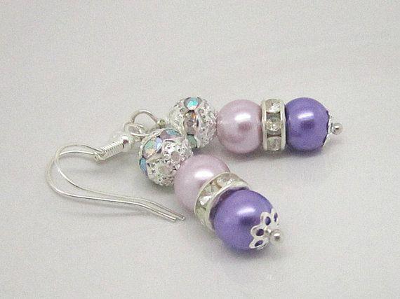Lilac Pearl Drop Earrings Purple Bridesmaid by UrbanDaisyBridal