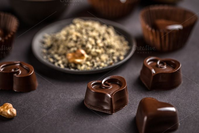 #Chocolate sweets  Chocolate sweets on black background