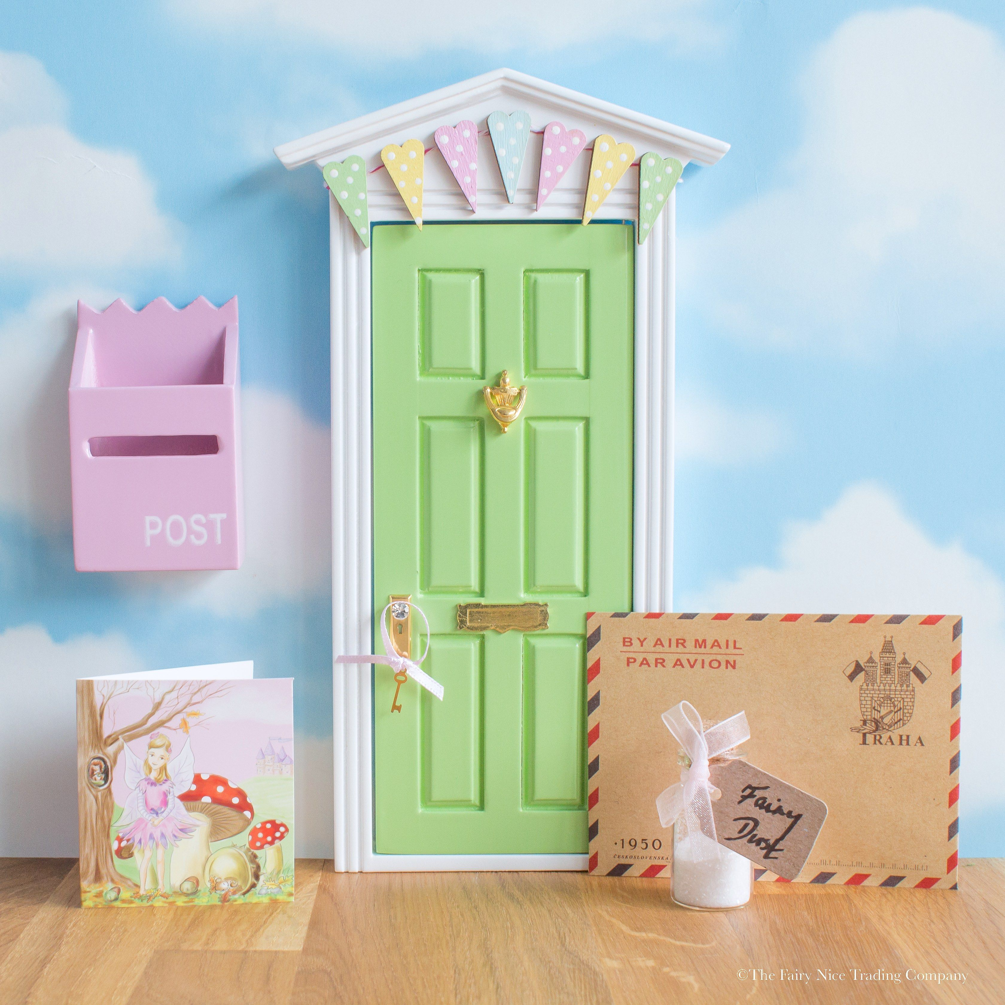 A delightful little green Fairy Door with bunting. Comes with a personalised letter from the & A delightful little green Fairy Door with bunting. Comes with a ...