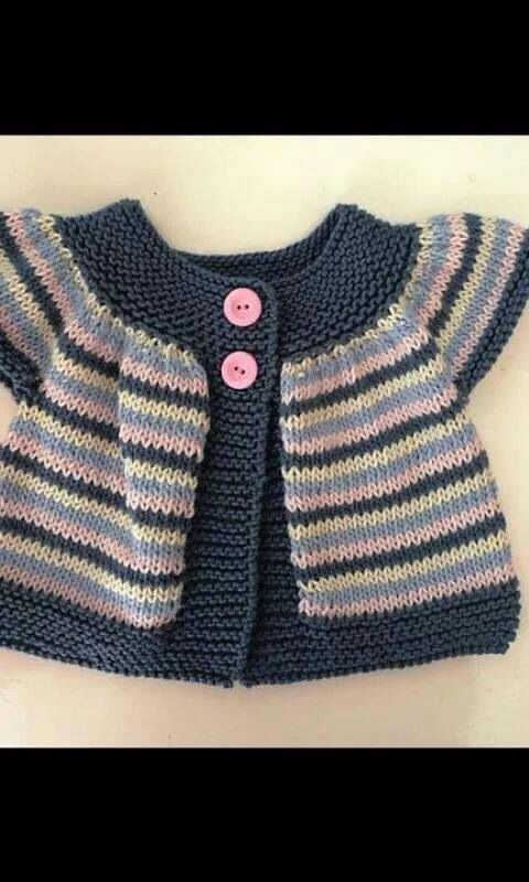 Striped short and long-sleeved baby cardigan