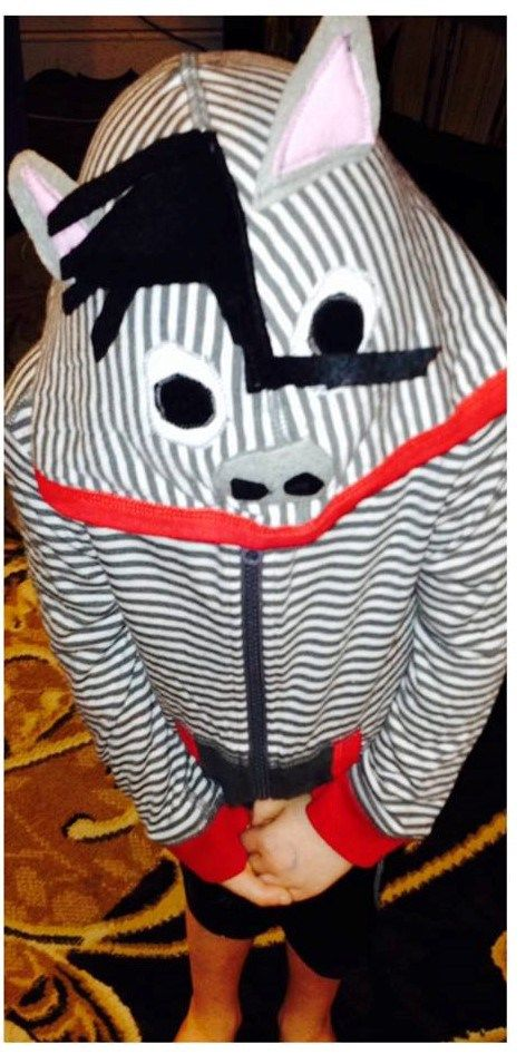 Diy zebra costume upcycled hoodie do it yourself pinterest diy zebra costume upcycled hoodie solutioingenieria Images
