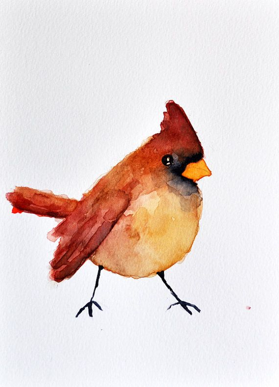 Original Watercolor Bird Painting Winter Cardinal Watercolor