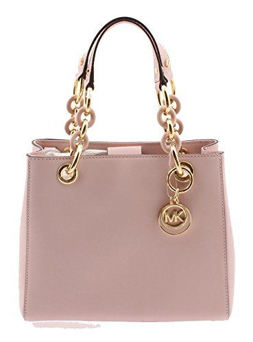 49efd94887 Michael Kors Cynthia Small North South Satchel Handbag Leather Blossom Gold