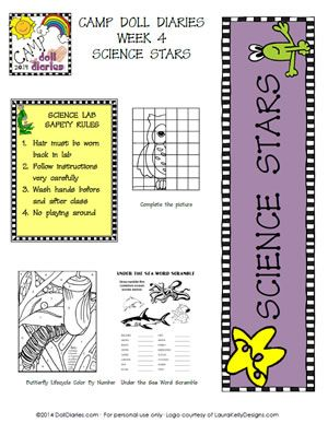 Camp Doll Diaries Science Stars Printable Worksheets | Doll | Pinterest