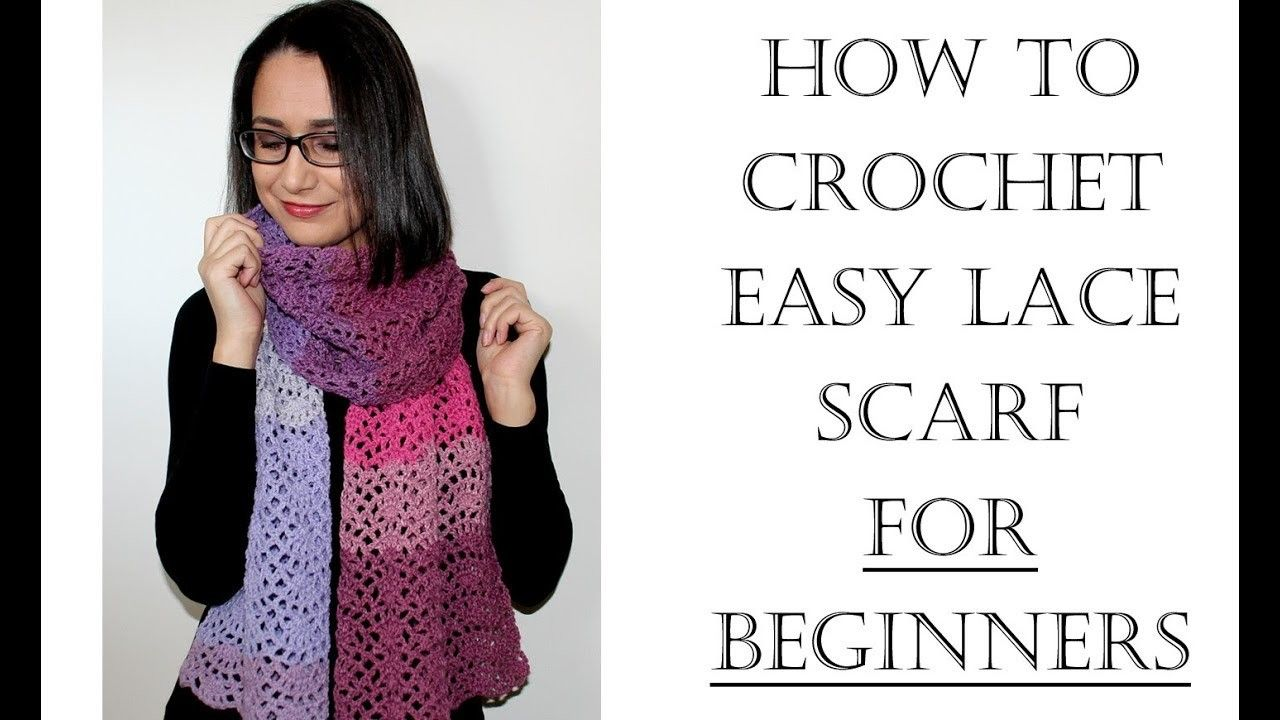 How to Crochet Easy Lace Scarf for Beginners | Crochet | Pinterest ...