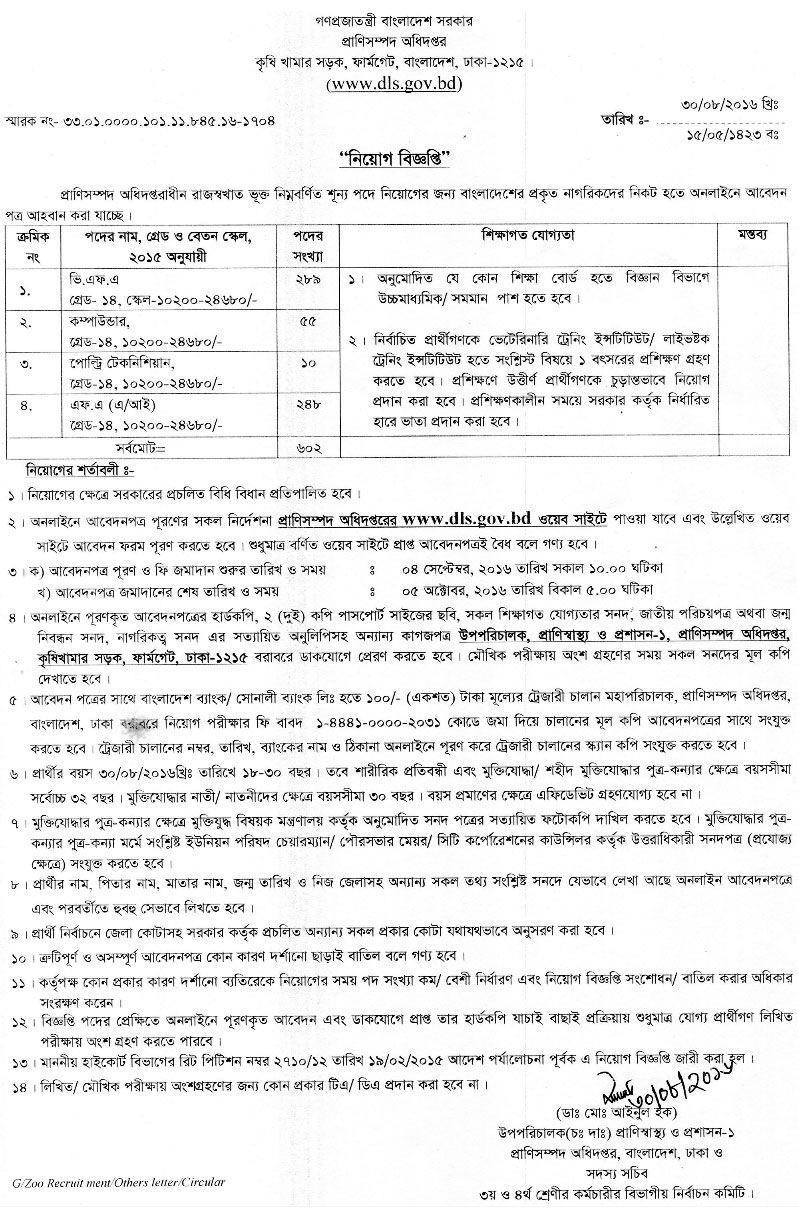 602 Vacancy Department of Livestock Job Circular Job
