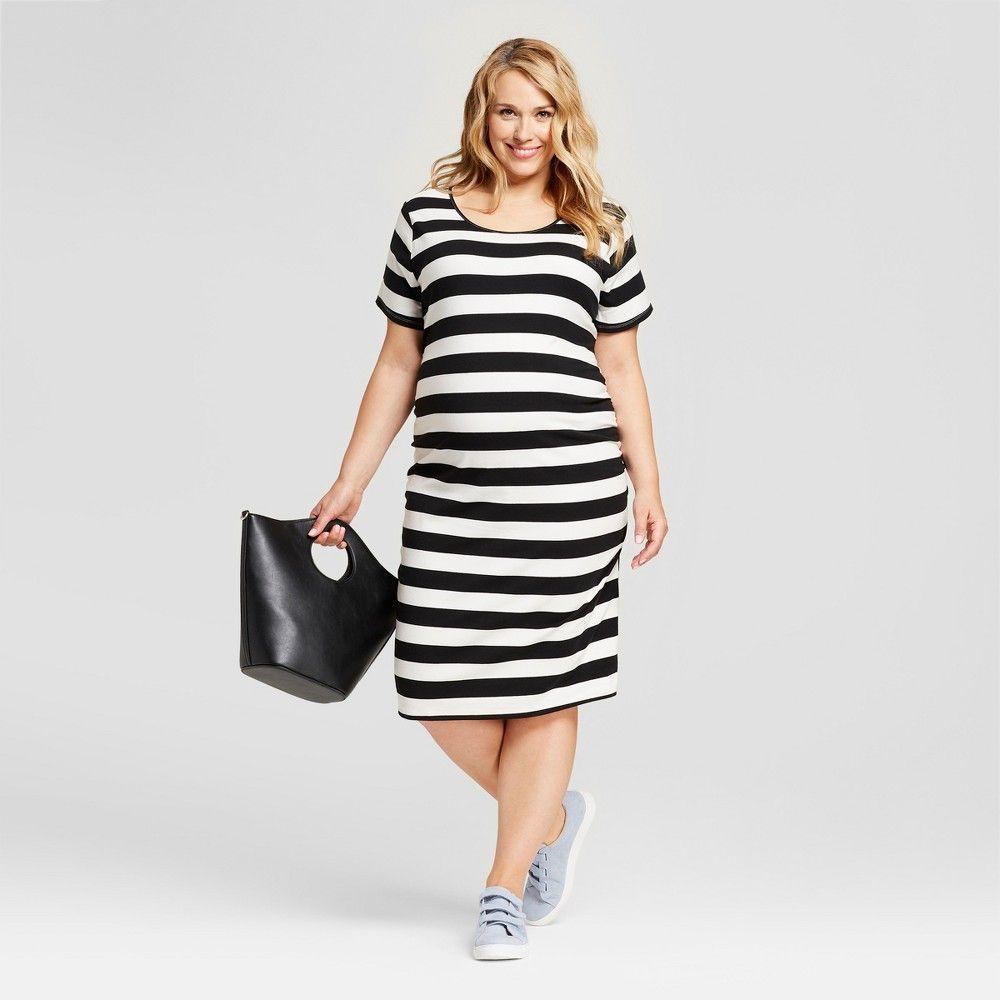 2c52149800333 Maternity Plus Size Striped Side Shirred Short Sleeve Midi Dress - Isabel  Maternity by Ingrid & Isabel Black/White 1X