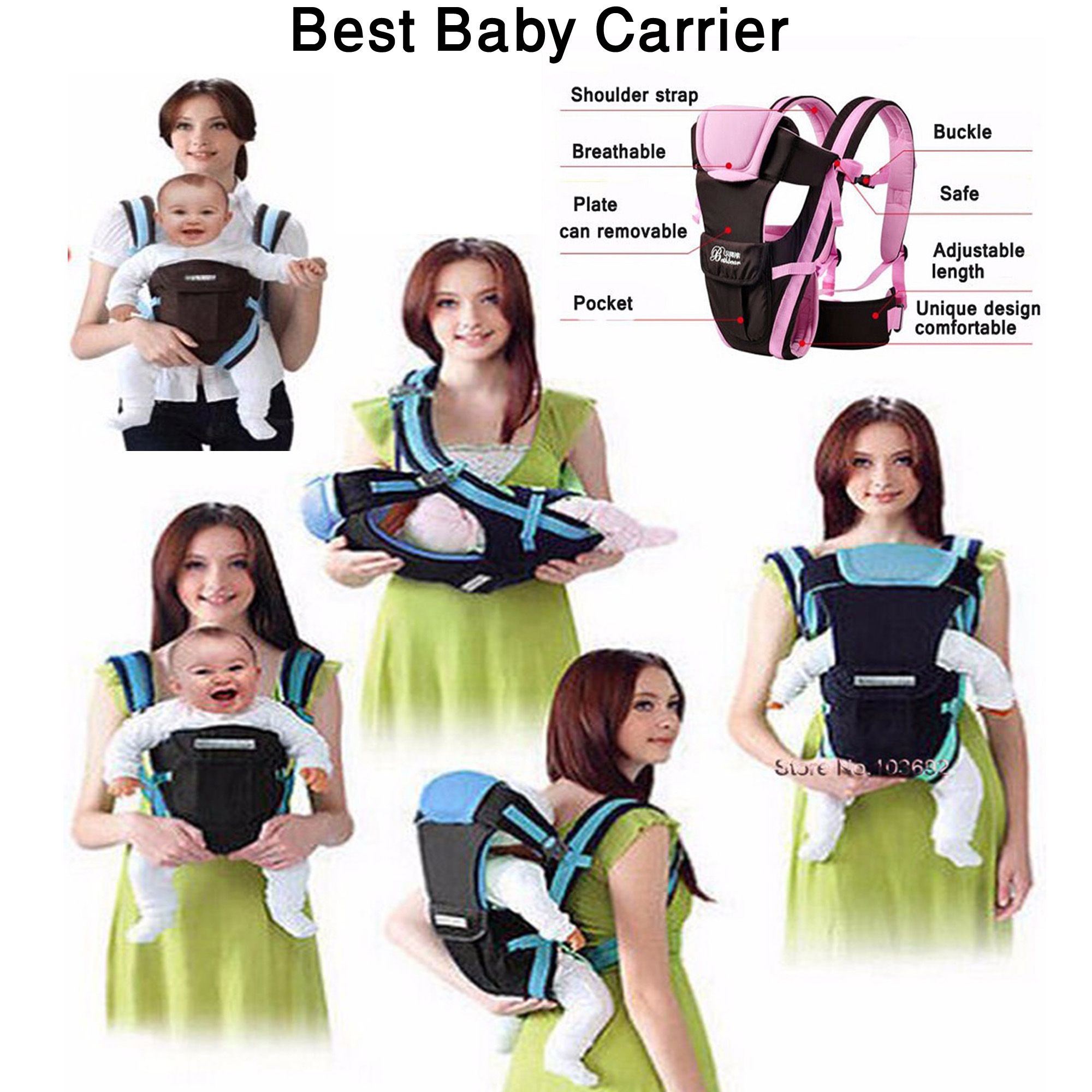 Beth Bear 0 30 Months Breathable Front Facing Baby Carrier 4 in 1