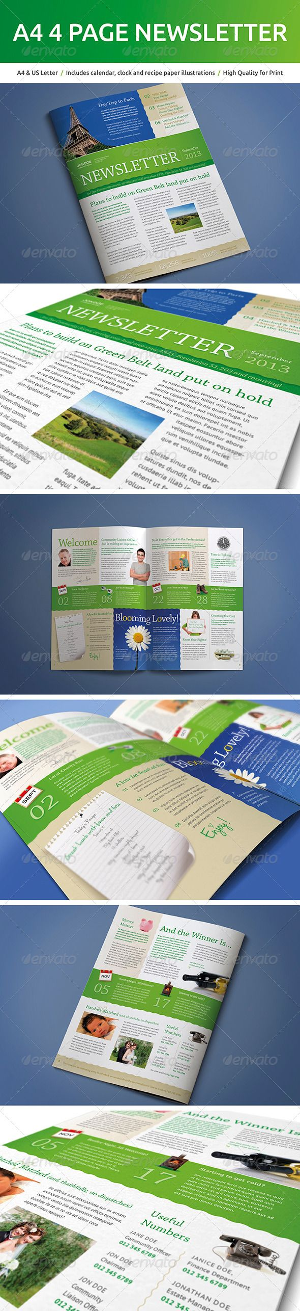 A Page Newsletter Newsletter Templates Font Free And Print - 4 page newsletter template
