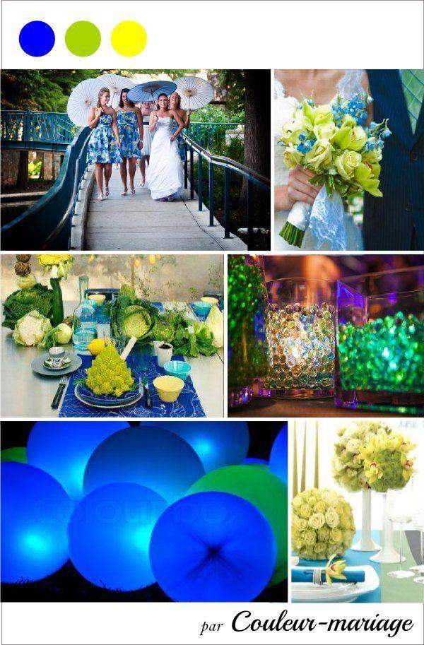 Mariage en couleur, bleu, vert, jaune
